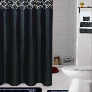 Accessories - 18Pcs Embroidered Bathroom Sets Black